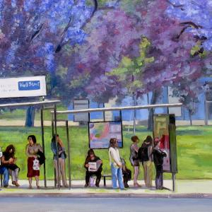 many figures in colourful clothing are waiting for the bus.