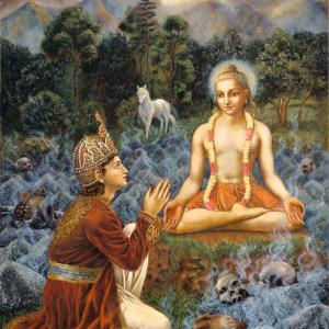 King Bhageeratha came to be Kapila Deva over the remnants of his burned ancestors.