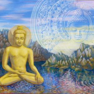 Golden Buddha is sitting in meditation floating on the water