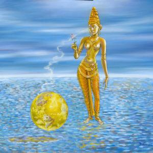 Bhumi, the earth goddess is standing on the ocean near a very luminous earth planet.