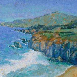View of Big Sur in an impressionist style, lots of blues and green waves