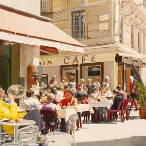 A cafe scene with people sitting at tables, others walking, bubbles floating