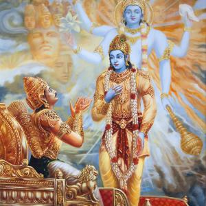 From the Bhagat Gita Krishna who's Arjuna's chariot driver reveals His form