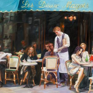 A cafe scene in Paris, with couples, single men and women eating and drinking