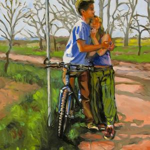 A young man is leaning on a bicycle, holding a young woman against his chest.