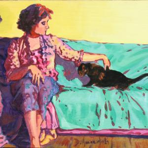 A young lady wearing a red bow in her hair, is petting a black cat
