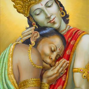 Sri Ram wearing a magnificent crown is hugging the monkey Hanuman.