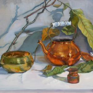 A copper kettle with its lid, a copper lota, a brass singing bowl and a branch