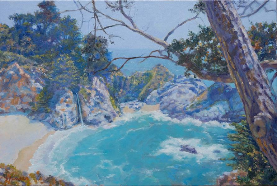 A pool of sea water with a waterfall, surrounded by rocs and trees.