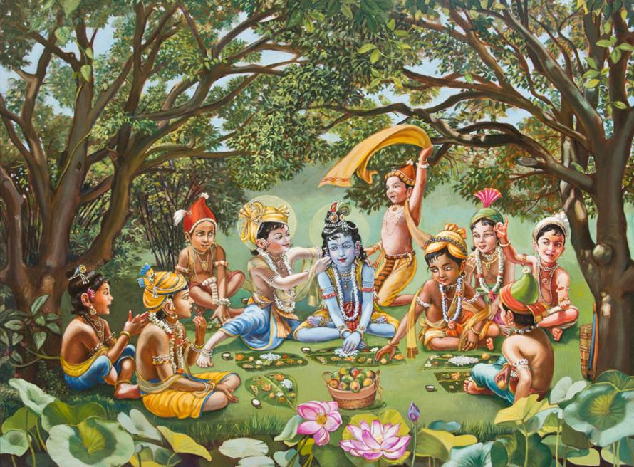 The coward boys are eating lunch in a circle with Krishna as their friend.
