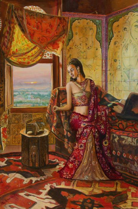 An Indian girl with rich clothing, is sitting in an ornate bedroom, pulling necklaces out of a box.