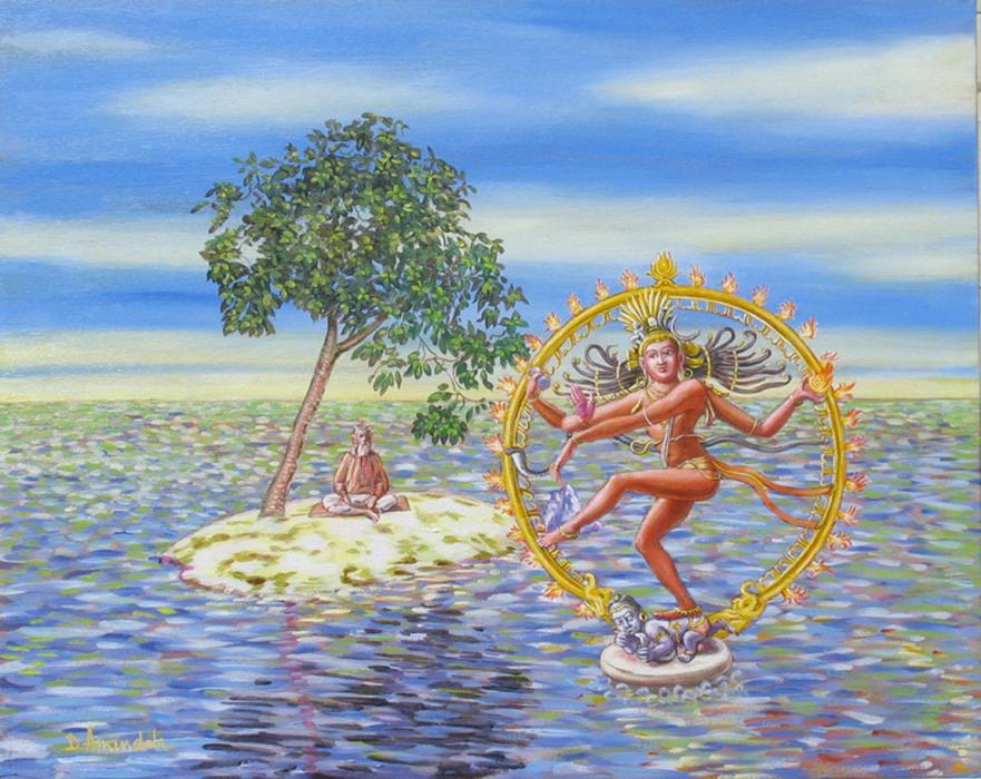 Lord shiva is dancing on the ocean of the mind, the soul is represented by a sage sitting on an island.