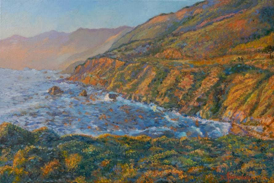 A very colorful view of California Coast near Carmel in evening sunset light