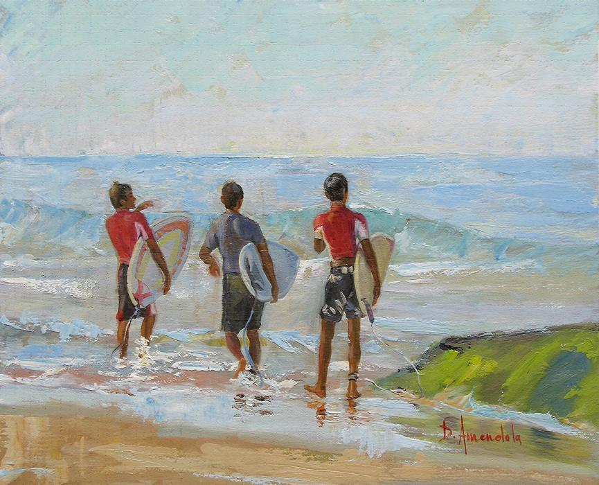 Three young men with their surf boards are examining the ocean for waves.