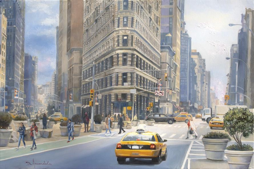 Street scene in Manhattan New York with people and a yellow cab
