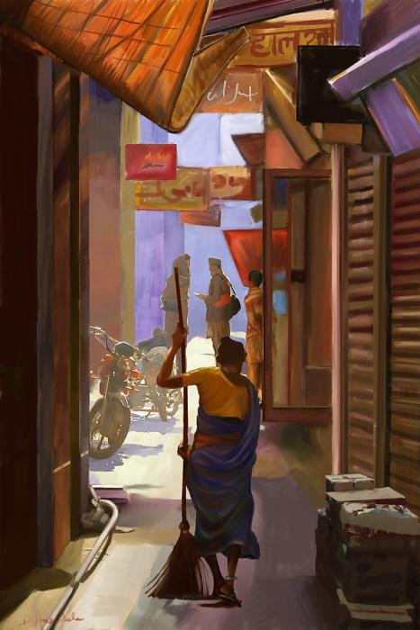 Narrow street with sweeper in India. Sunlight is streaming through the street.