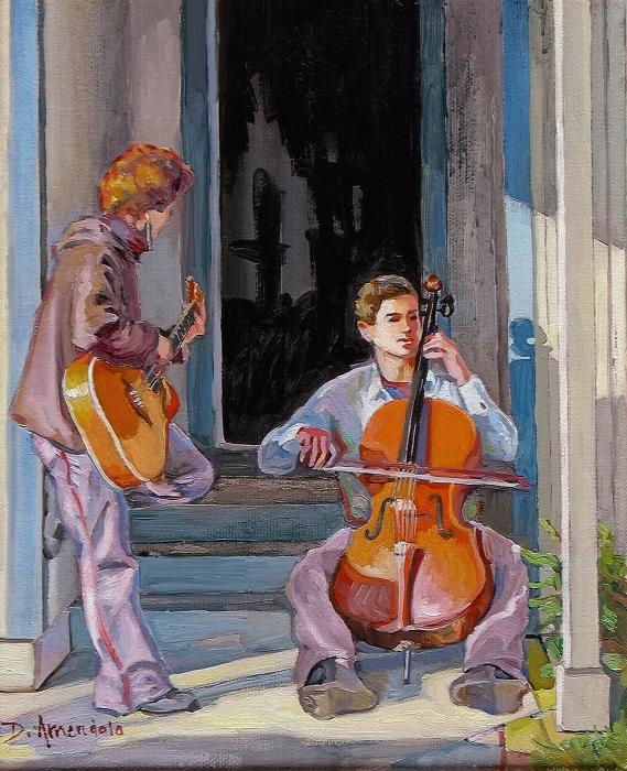 A boy with a cello and a girl with a guitar are playing on the doorstep.