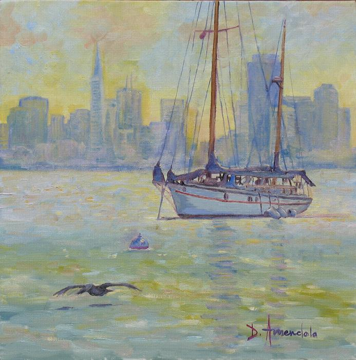 a large saiboat is resting away from the harbor. The style is impressionist.