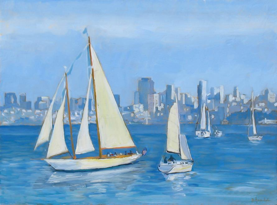 Some white sail boats are crossing the blue waters in front of San Francisco Bay