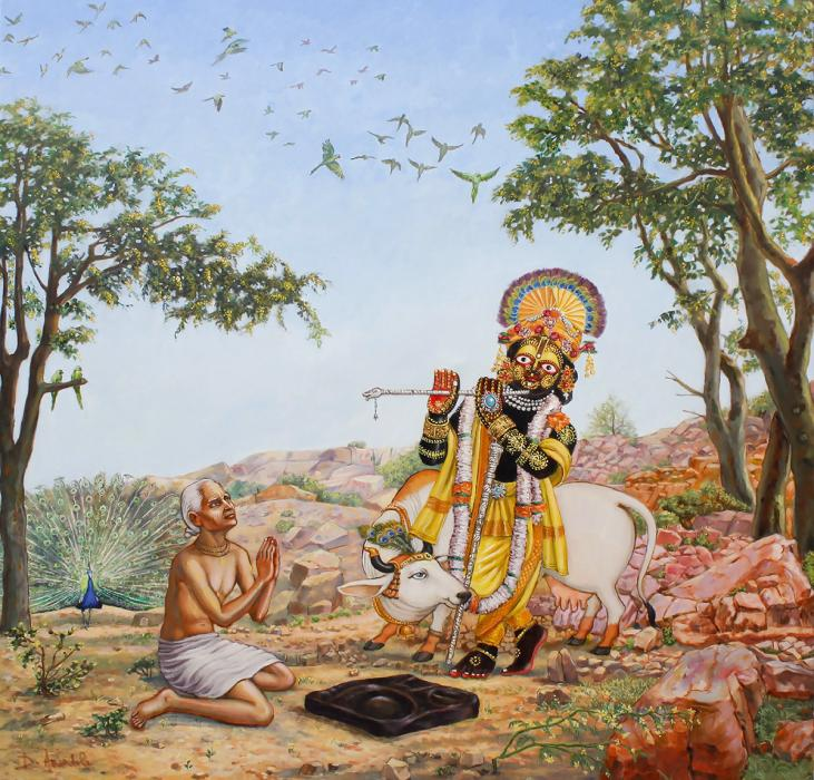 Sri Damodara the deity of the temple appeared to Sanatana to give him the shila