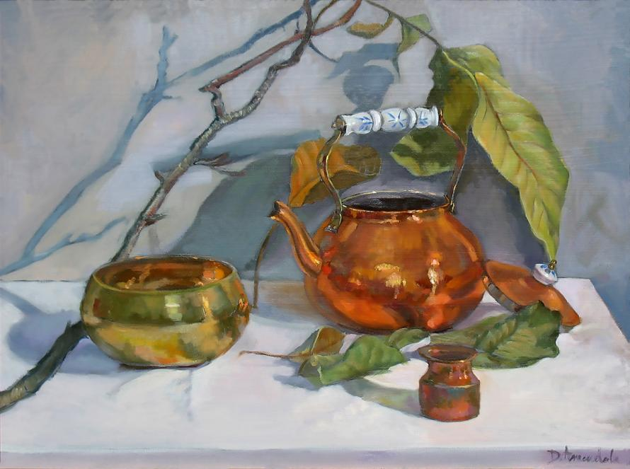 A copper kettle with its lid, a copper lota with a spoon, A brass singing bowl