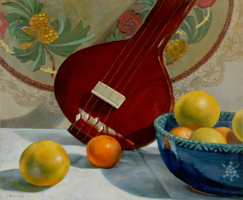 A tambura, a bowl of fruits, some oranges, some grapefruits, a tapestry