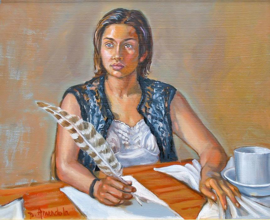 A girl pauses with an intense expression on her face, holding a quill.