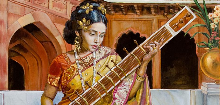 The lady with the sitar
