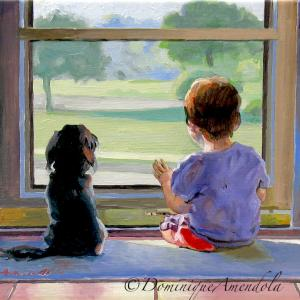 A small dog and a child looking out at the window