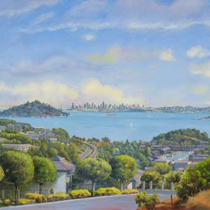 Panoramic view of the town of Tiburon with San Francisco in the background
