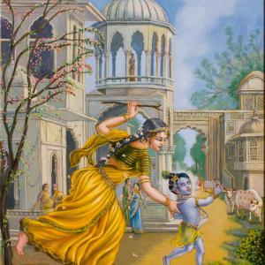 Mother Yashoda is running after child Krishna with a stick. there is a palace in the background.