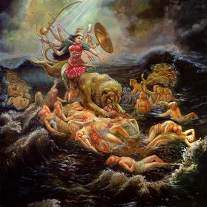 Durgha is riding lust in the form of a lion devouring soul sleeping in ocean