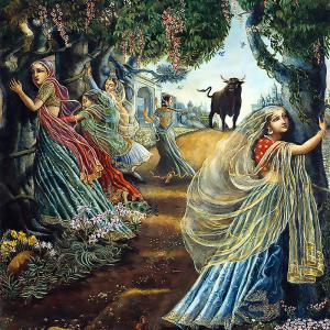 Some richly dressed girls, frightened by a large black bull, embrace the trees
