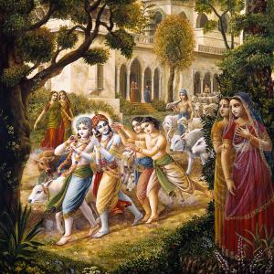 The cowherd boys headed by Krishna are taking the cows to the grass fields