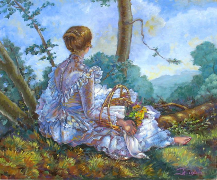 A girl seen from the back is sitting in the grass in her white dress.