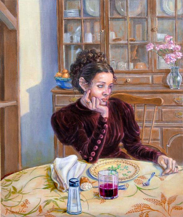 a woman dressed in a velvet dress, is sitting at her dinning table, bored