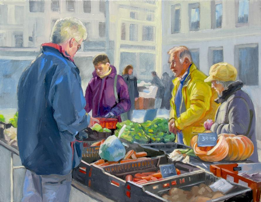 People buying vegetables at the market. Colourful jackets, yellow, blue, purple.