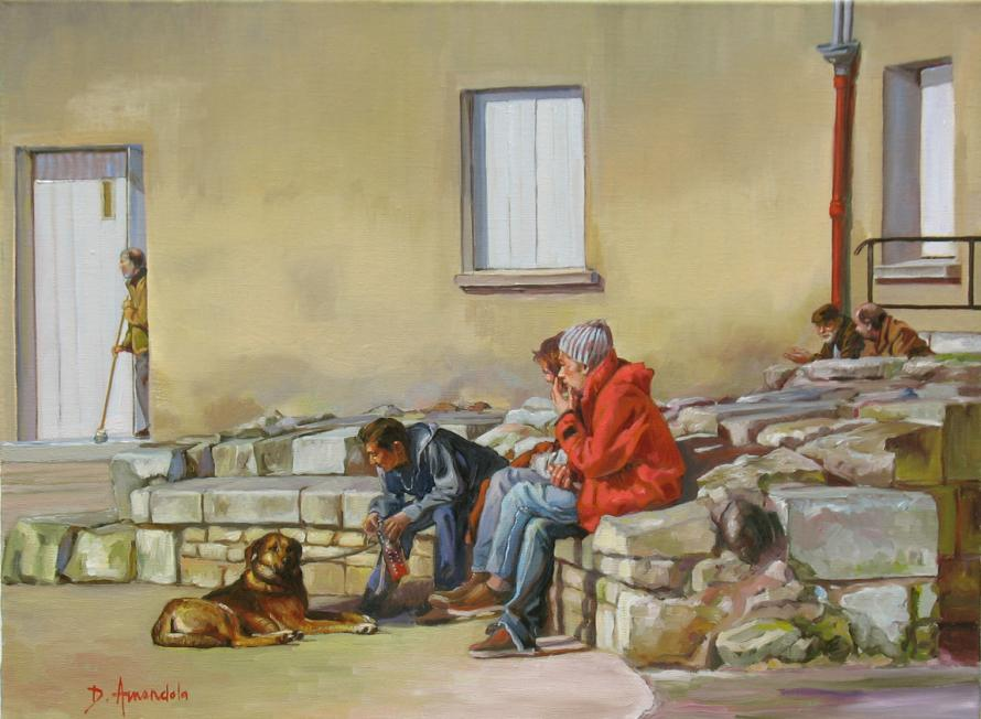 three figures are sitting on a street in La Rochelle with their dog.