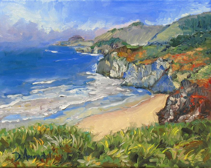 View of the Carmel California coast in impressionistic style