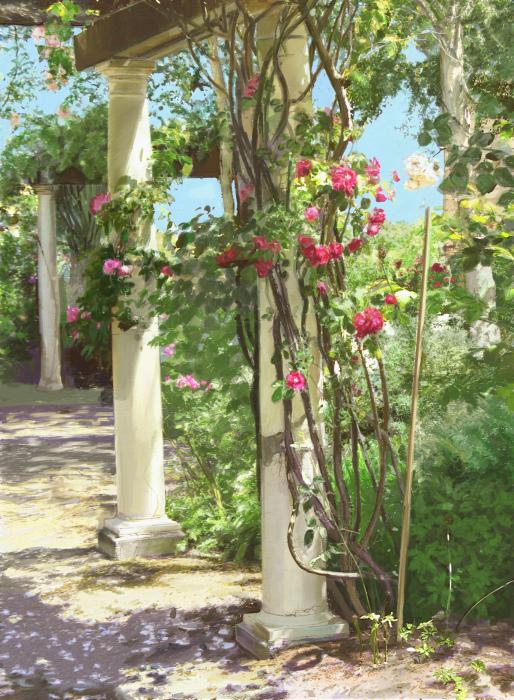 In an alley, climbing roses are growing on columns in a garden.