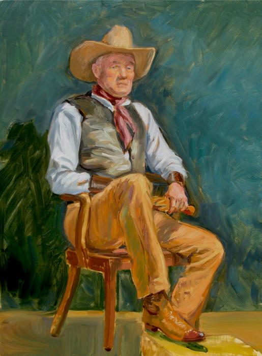 A cowboy is sitting in a wooden chair with his shinny boots.