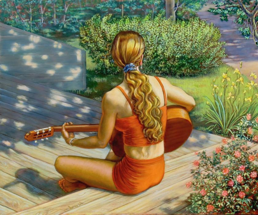 a girl in her bathing suit is playing the guitar in the sun