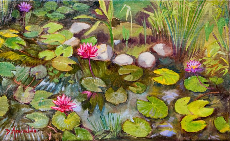 A pond with water lilies, red patches among the green leaves