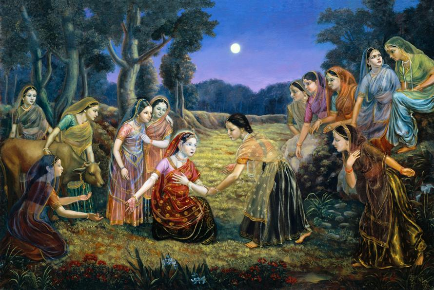 Under the moon light, Radha is showing the gopis that Krishna left her