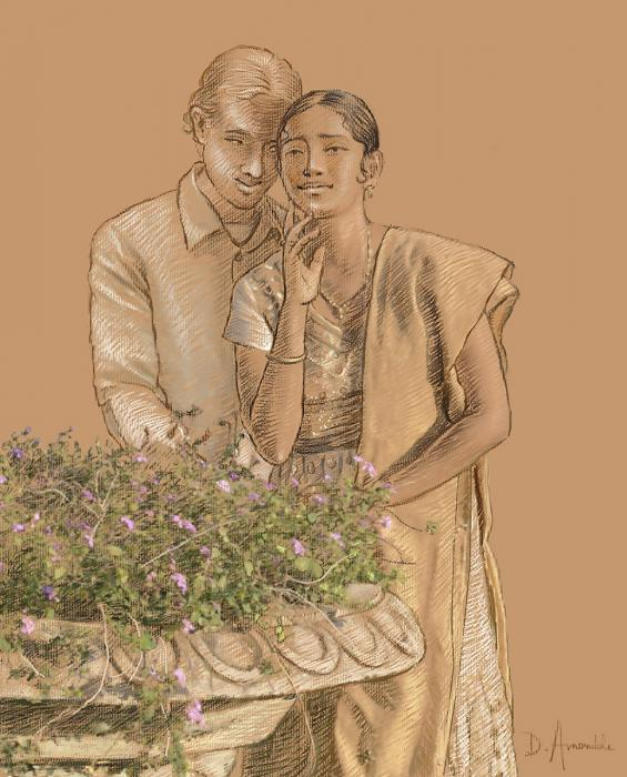 This is a drawing on ocher paper with a couple near a flower fountain.