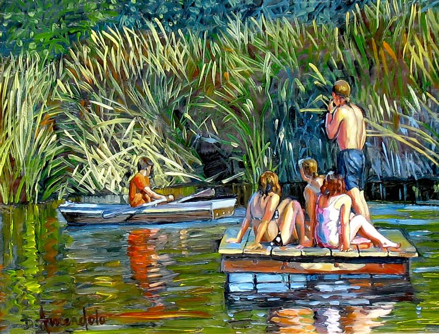 Four figures on a swimming platform are waiving to another who is rowing a boat.