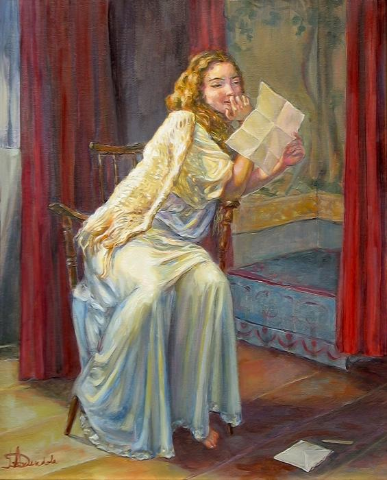A young girl is sitting in her night gown is holding a letter with a smile.