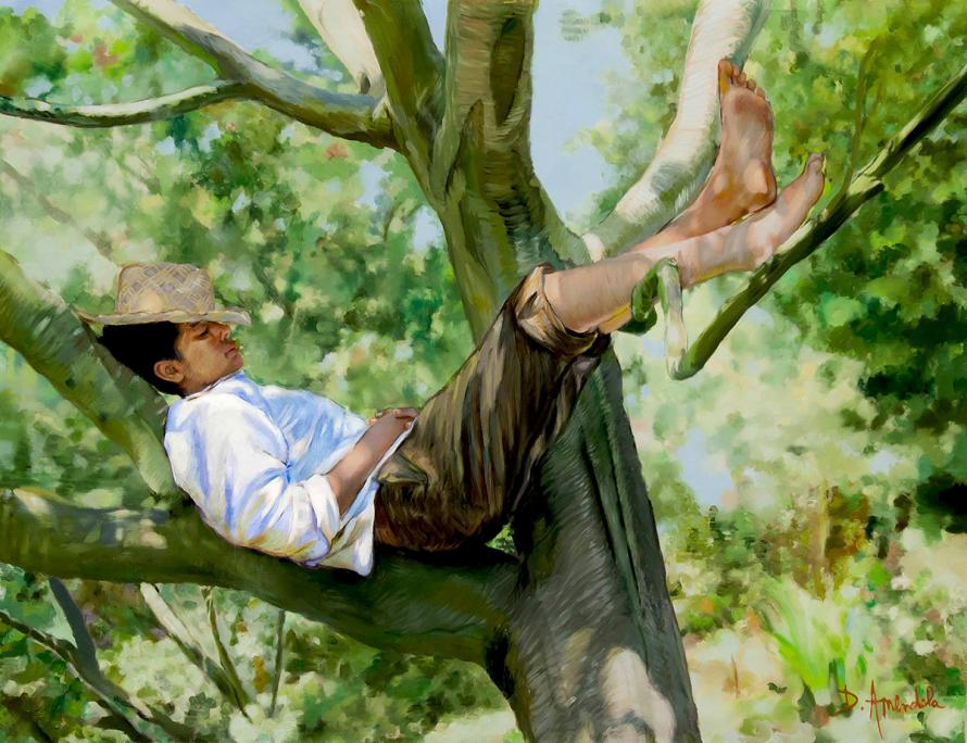A young man is sleeping in a tree. His straw hat is cevering his face partially.